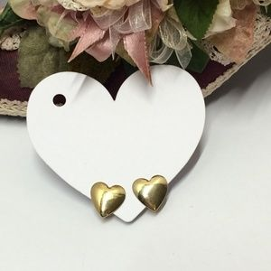 Cute Vintage Gold Heart Clip on earrings